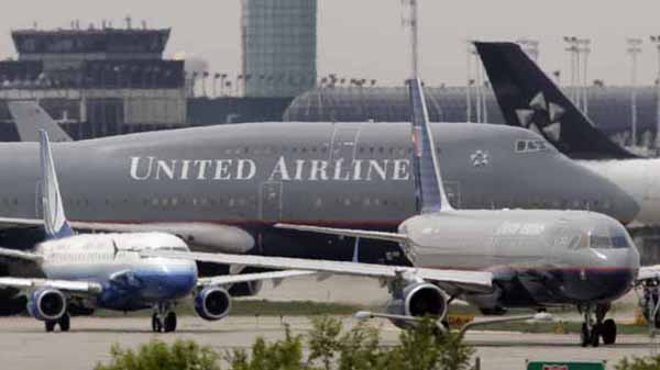 File photograph of United Airlines planes taxing at Chicago's O'Hare International Airport