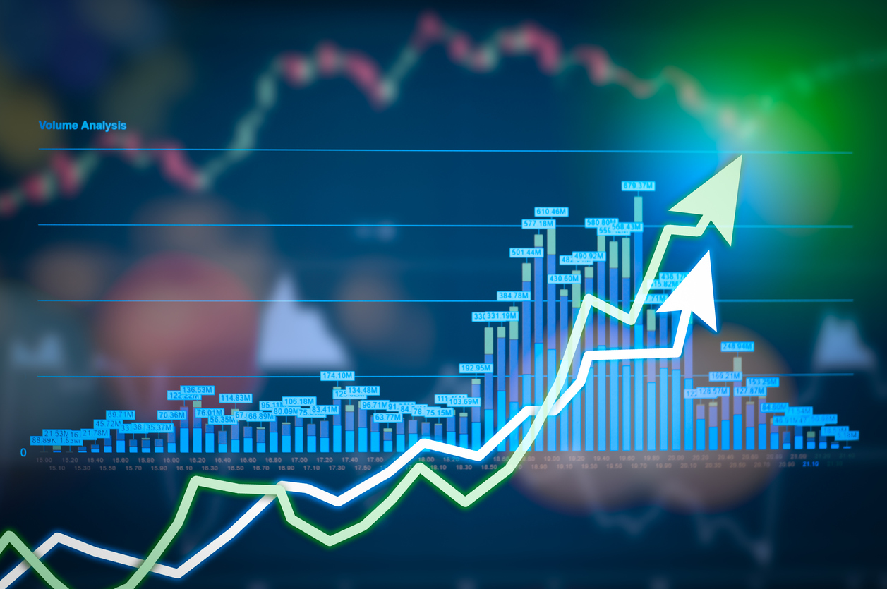 Stock market digital graph chart on LED display concept  A